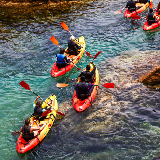 Students kayaking on an excursion.
