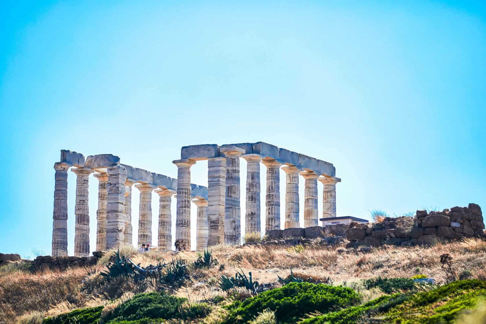 Greek ruins on a sunny day.