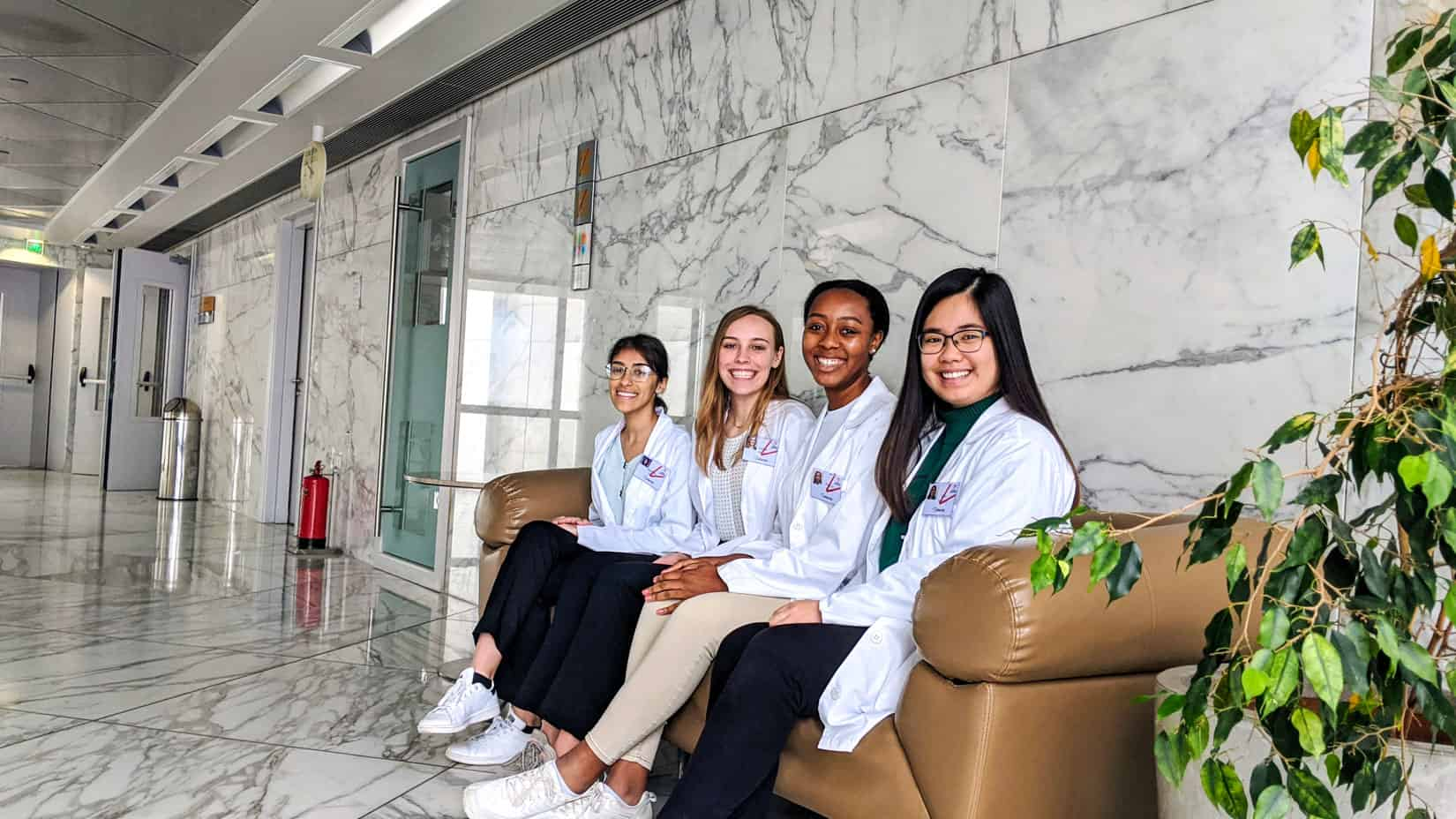 Students sitting in a hospital ready for shadowing.