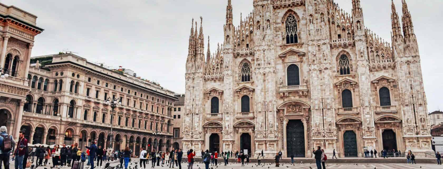 A view of the duomo in Milan on a cloudy day.