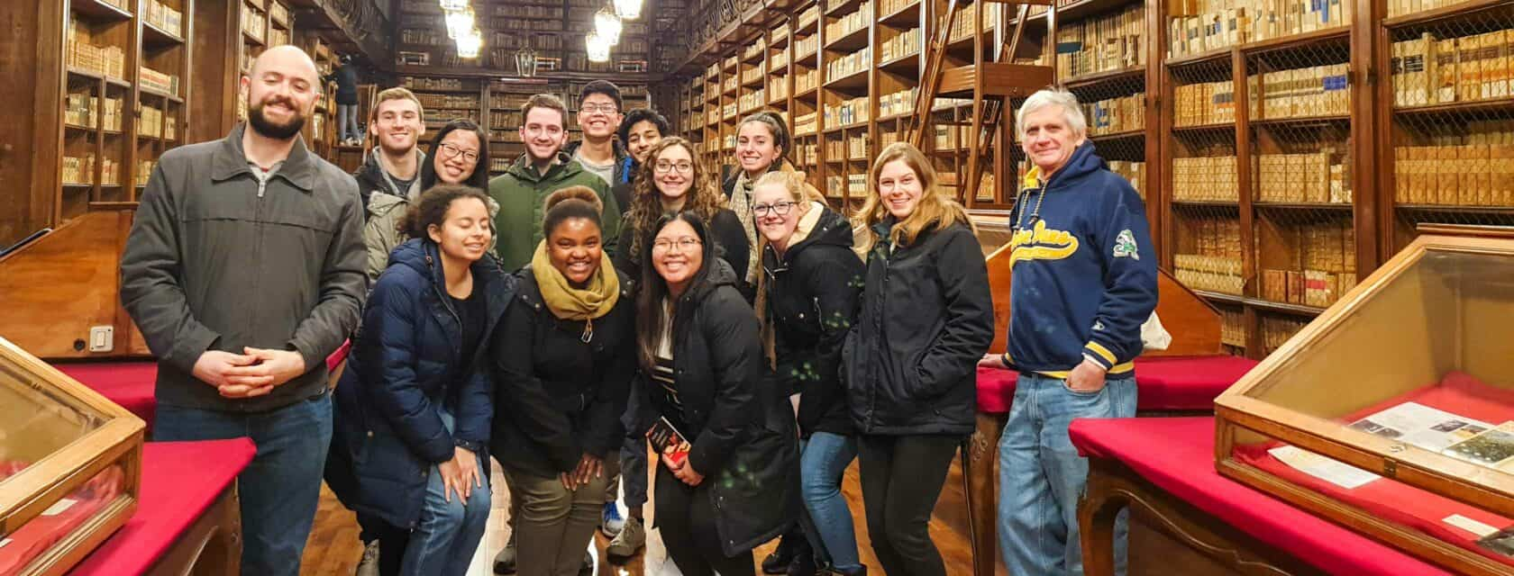 Students in an old library.