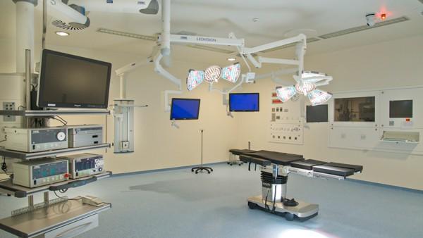 Interior of a hospital room.