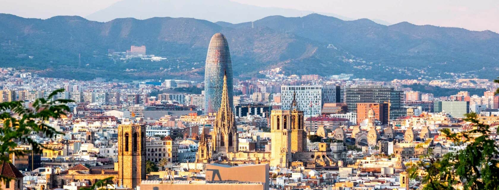 An aerial view of Barcelona where you can see major architectural landmarks.