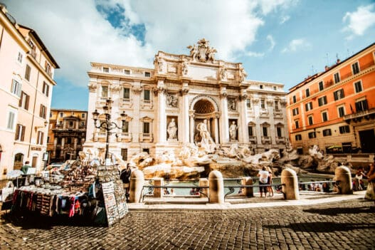 A view of the Trevi fountain.