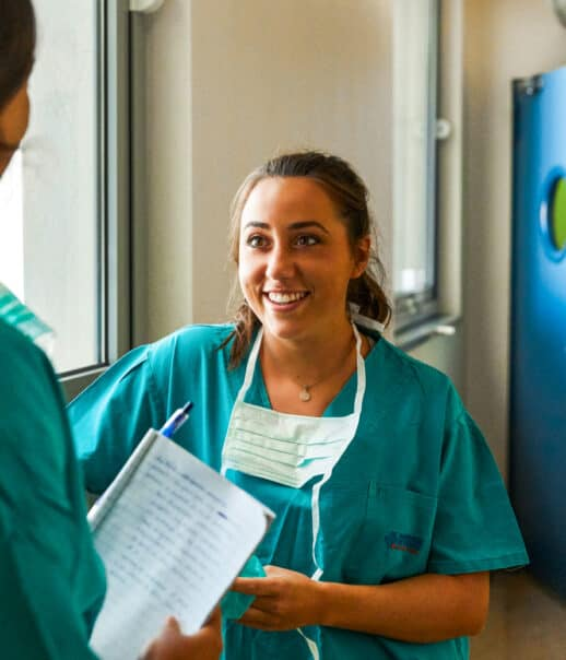 A student shadowing in the hospital.