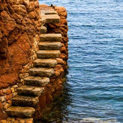 A set of stairs by the ocean.