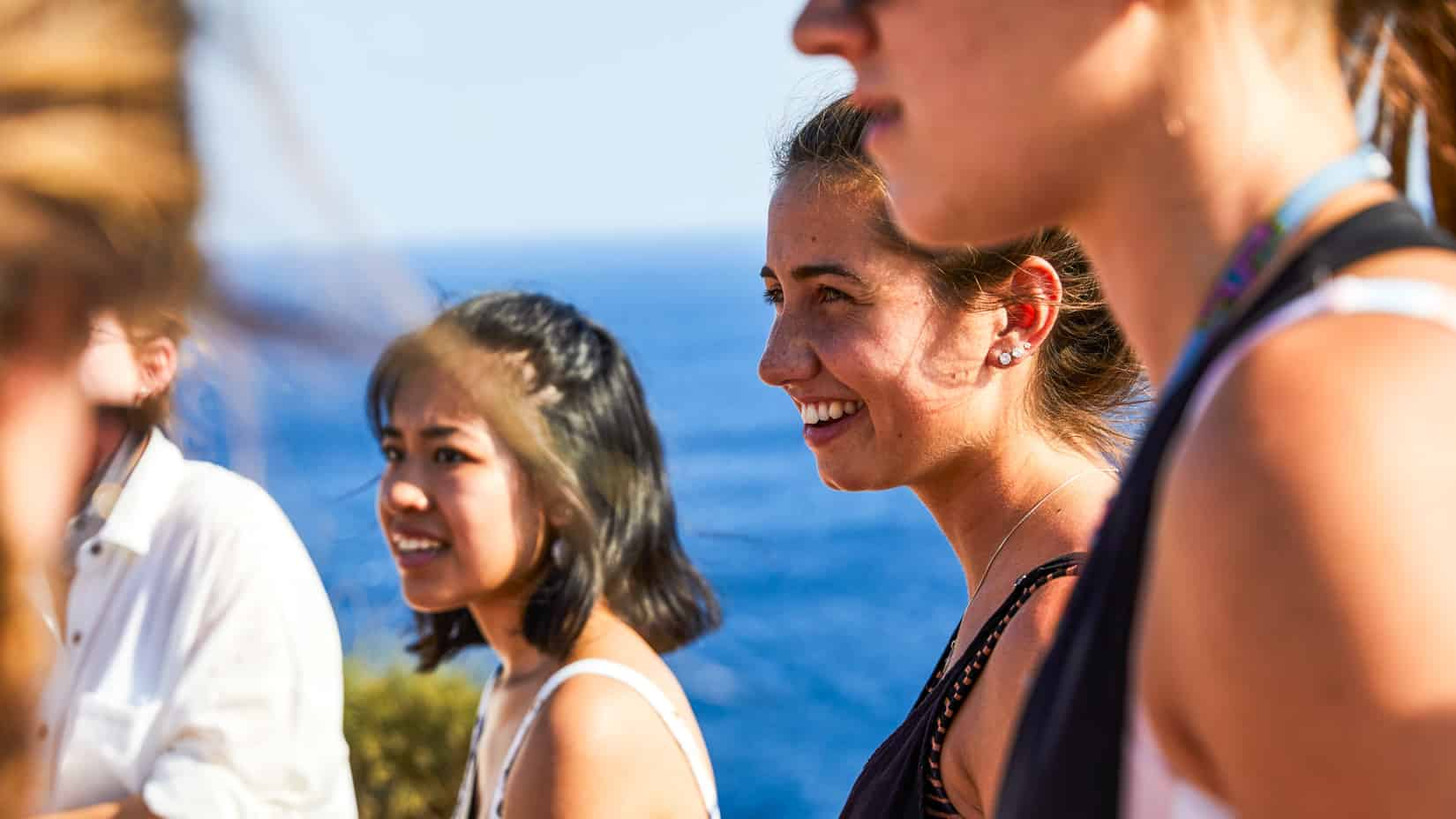 Students on an excursion to the temple of Poseidon.