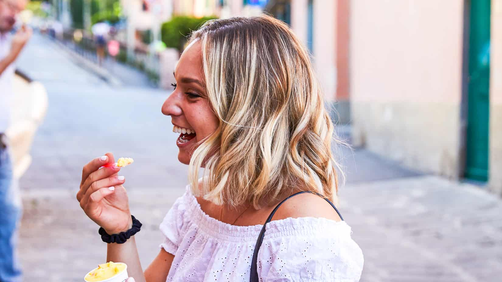 A student eating ice cream.
