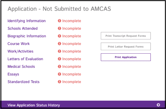 The AMCAS application showing the different sections that need to be submitted.