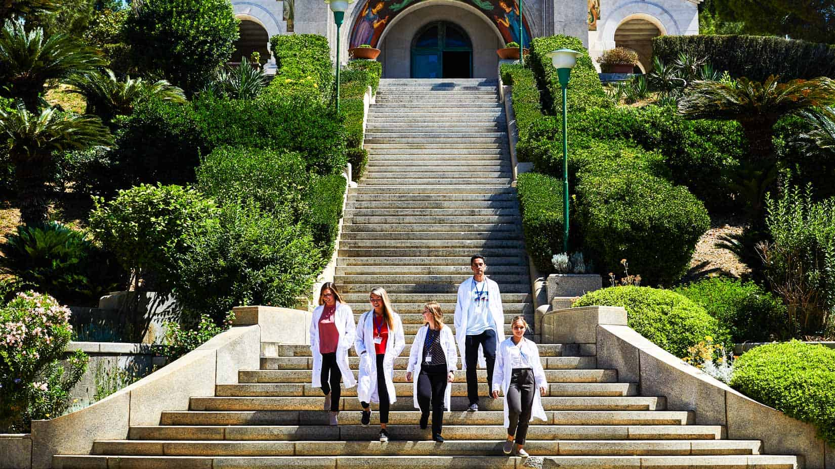 Students on a set of stairs.