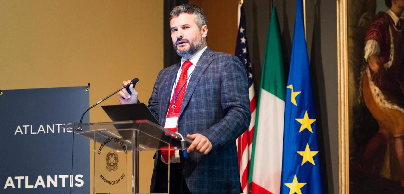 A speaker at the Atlantis Connect Conference, 2018.