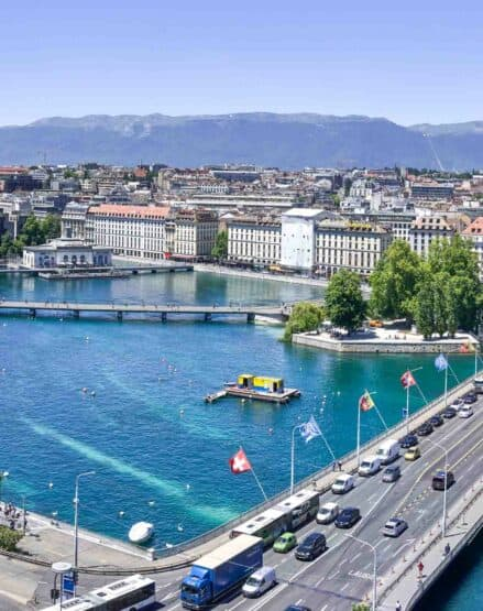 An aerial view of the city of Geneva.